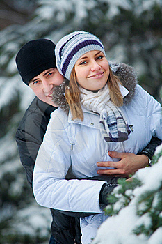 Beautiful Couple In Winter Park. Royalty Free Stock Image - Image: 16565616