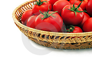 Ripe Tomatoes In A Basket. Stock Photo - Image: 16578440