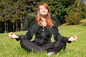 Girl Meditating In Nature Stock Photo - Image: 16578750