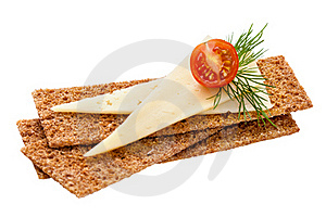 Crispbread With Cheese, Tomato And Dill Stock Photos - Image: 16579923