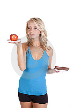 Blue Top Looking At Apple Pouty Stock Photography - Image: 16583712