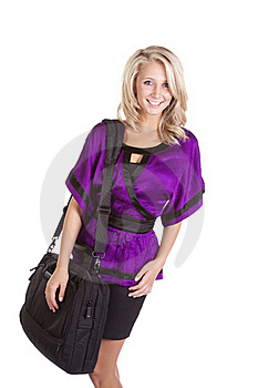 Woman Purple Holding Bag Stock Photos - Image: 16583923
