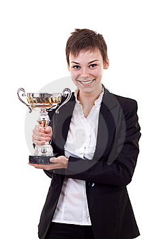 Business Woman Holding A Silver Cup Royalty Free Stock Photo - Image: 16586925