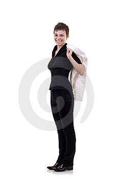 Woman With Jacket On Shoulder Royalty Free Stock Photo - Image: 16586955