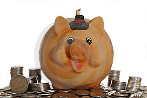 Piggy Bank On Coins Stock Images - Image: 16594544