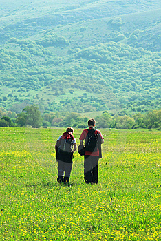 Tourists In Mountain Meadow Royalty Free Stock Photos - Image: 16603858