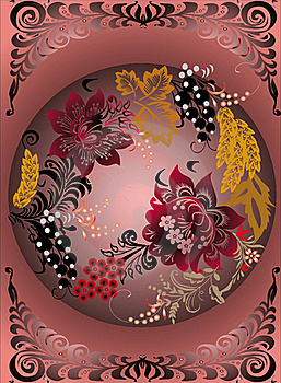 Pattern With Red Flowers And Gold Leaves Stock Photo - Image: 16606380