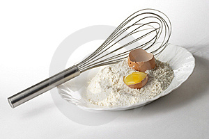 Flour, Whisker And Egg Royalty Free Stock Photos - Image: 16607758