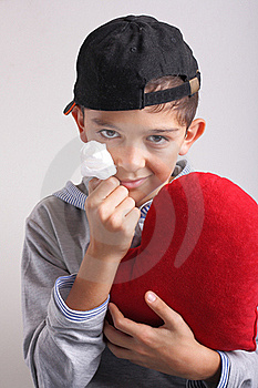 Boy, Heart And Paper Rose Stock Image - Image: 16608511