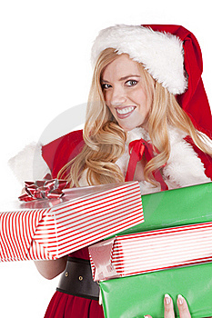 Mrs Santa Handing Present Stock Photos - Image: 16613143