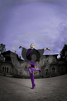Woman In The Background Of An Old Building Royalty Free Stock Photography - Image: 16613407