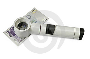Magnifying Glass And Money Stock Image - Image: 16618981