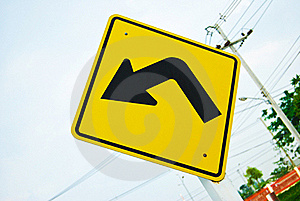 Turn Left Traffic Sign Symbol Royalty Free Stock Photography - Image: 16629117