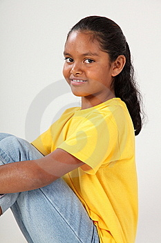 Pretty Smile From Young School Girl 9 Wearing Yell Stock Images - Image: 16630884