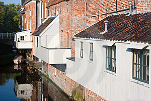 Dutch City With House Extensions Above The Canal Royalty Free Stock Photos - Image: 16638648