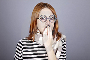 Surprised Red-haired Girl In Glasses And Scarf. Stock Photo - Image: 16639260