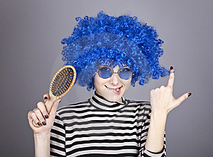 Coquette Blue-hair Girl With Comb. Stock Image - Image: 16639621