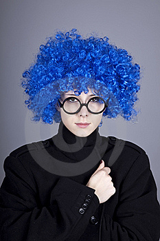 Funny Blue-hair Girl In Glasses And Black Coat. Stock Photos - Image: 16639713