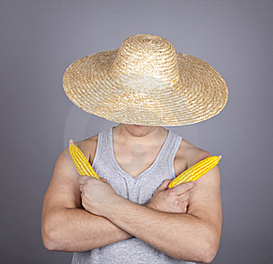 Aggressive Farmer Show Two Corns. Royalty Free Stock Photo - Image: 16639955