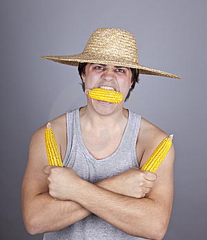 Aggressive Farmer Show Three Corns. Royalty Free Stock Photography - Image: 16639967