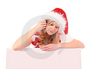 Miss Santa Is Writing With A Blue Marker Pen Royalty Free Stock Photos - Image: 16642078