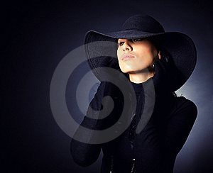 Attractive Girl In The Wide-brimmed Hat Stock Photo - Image: 16642740