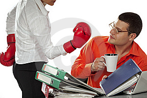Secretary Try To Impact On The Businessman Royalty Free Stock Images - Image: 16647649