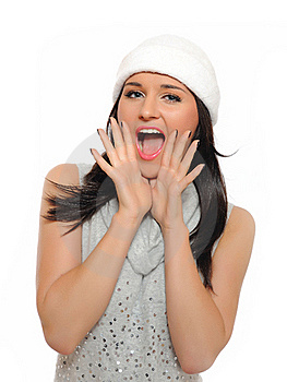 Expressions.Beautiful Winter Woman  Screaming Stock Photo - Image: 16650260