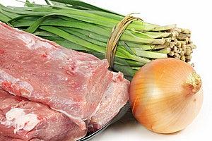 Tenderloin, Leek, Onion Stock Image - Image: 16650801