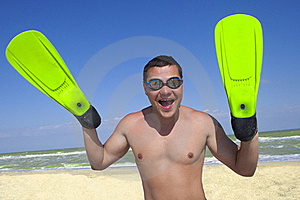 Smiling Boy In Swimming Mask And Fins On His Hands Stock Photo - Image: 16652330