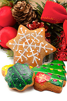 Assorted Cookies And Christmas Wreath Royalty Free Stock Photo - Image: 16666955