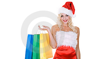 Beauty Girl In Santa Hat With Color Bag Royalty Free Stock Photo - Image: 16668705