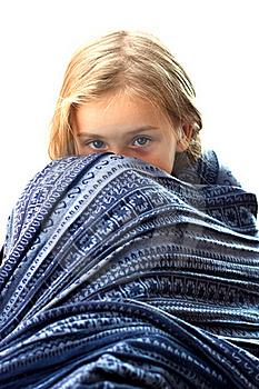 Beautiful Girl In Blue Blanket Royalty Free Stock Photo - Image: 16669885