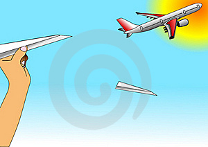 Illustration Of Paper Airplane And Airbus Flying Stock Image - Image: 16675151