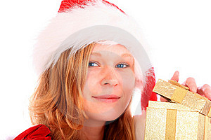 Miss Santa Is Opening A Golden Gift Box Stock Images - Image: 16676164