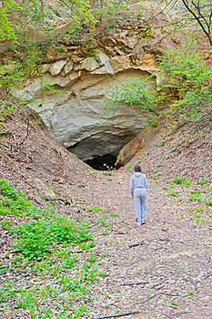 Woman And A Cave Stock Image - Image: 16677861