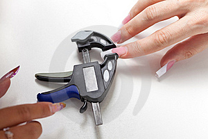 Manicurist Make Shape To Enlarged Acrylic Nails Stock Photo - Image: 16693660