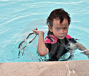 Angry Boy In Pool Royalty Free Stock Images - Image: 16695099