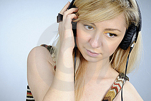 Girl Listening Music On Headphones Stock Photo - Image: 16698320