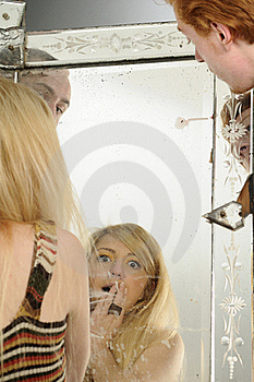 Young People Looking In Mirror Stock Images - Image: 16698364