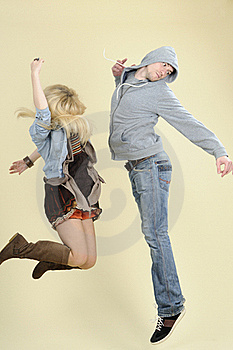 Teens Jumping Together Stock Photography - Image: 16698482