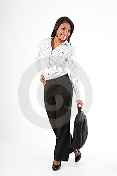 Fun Full Length Pic Business Woman With Laptop Bag Stock Photography - Image: 16698662
