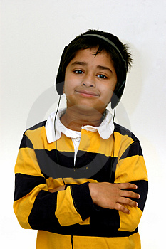 Kid Listening To Music Royalty Free Stock Photography - Image: 1671117