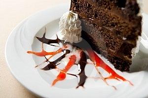 Slice of chocolate cake Free Stock Photo
