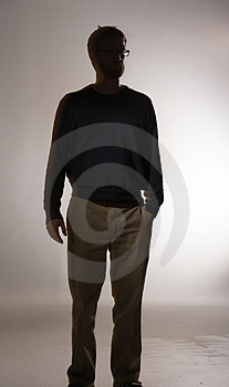 Bearded Man Alone Stock Photo