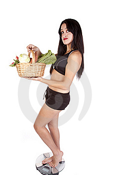 Woman Fitness Scales Vegetables Royalty Free Stock Photo - Image: 16704225