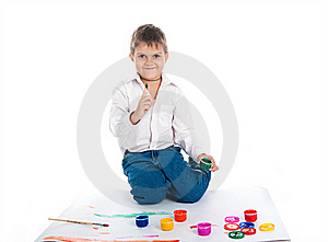4 Year Old Boy With  Paint Stock Images - Image: 16705424