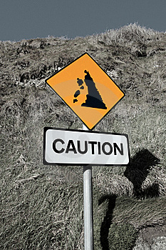 Landslide Caution And Warning Road Sign Royalty Free Stock Images - Image: 16706719