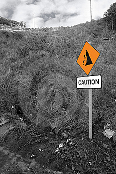 Landslide Caution Sign In Ireland Stock Photography - Image: 16706752