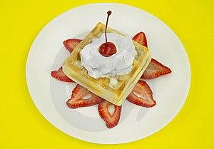 Waffle Cream And Cherry Stock Image - Image: 16707101
